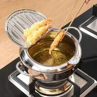 Deep Frying Pot With + Lid 304 Stainless Steel Japanese Kitchen Tempura Fryer Pan 20 24 Cm KC0405 Pans