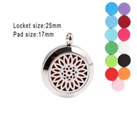 Pendant Necklaces 10pcs Sunflower Diffuser Locket25mm Essential Oils Locket Stainless Steel Perfume Necklace