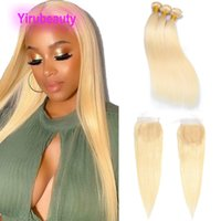 613# Blonde Color Malaysian Human Hair Extensions Silky Straight Bundles With 4X4 Lace Closure Double Wefts Virgin Hairs