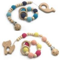 DIY Baby Holders Chapifier Cadena Clips Crochet Natural Madera Cuentas de la dentición Dibujos animados Infantil Alimentación Recién Nacido Dientes Práctica Juguetes Teether Accesorios 2pcs Conjuntos B7299