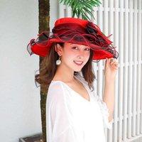 Organza Big Bron Fashion élégant Printemps et été Plat Top Fungus Fungus Bord Fleur Sun Couleur Femmes Couleur Chapeau