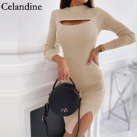 Casual Dresses Celandine Autumn Black Sexy O Neck Hollow Out Bodycon Mini Dress Women Long Sleeve Ribbed Split Knitted 2021