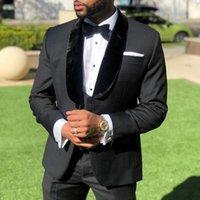 Men's Suits & Blazers Black Groom Tuxedo For Wedding With Velvet Shawl Lapel 3 Piece Custom Mens Male Fashion Jacket Waistcoat Pants 2022
