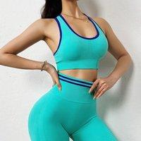 Equipo de yoga QRWR 2 pieza Set Gym Mujeres Ropa de entrenamiento sin fisuras Ropa Sujetador deportivo Y Leggings de cintura alta
