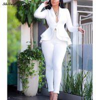 Two Piece Dress Sexy Business Suits For Women Solid Black White Office Ladies 2 Sets Scallop Design Elegant Suit Coat & Pants Set
