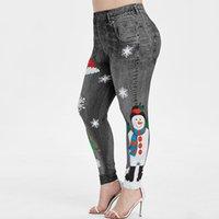 Women's Leggings Merry Christmas Snowman Cute Jeggings For Women High Waist Ankle Length Lovely Ladies Blue Spandex Skinny Workout Pants