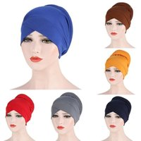 Turban Lady Women Silky Cross Cotton Sponge Hat Cancer Chemo Beanies Cap Headwear Wrap Plated Hair Accessories1