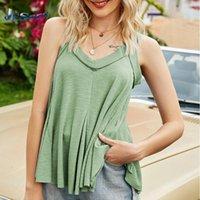Women's Tanks & Camis Loose V-neck Vest Sleeveless Suspender T-shirt Summer Beach Style Top Pure Color Wild Trendy Irregular Hem T Shirts Te