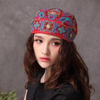 Beanie Skull Caps 2021 Fashion Women Mexican Style Ethnic Vintage Embroidery Flowers Bandanas Red Print Hat Winter Hats For
