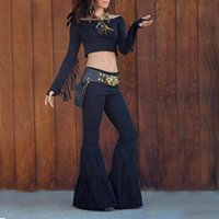 Fashion Women's Stretch Flare Wide Leg Pants Gypsy Palazzo Bell Bottom Trousers Dancing Long Black Brown Available & Capris