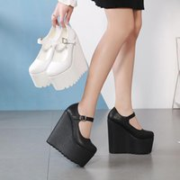 Dress Shoes Genuine Leather High-heeled Casual Comfortable Platform Womens Strap High Quality 16cm