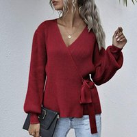 Tops Fashion Casual Daily Sexy Solid Color Long Sleeve V-neck Waist Belted Knit Long Sweater Pullovers Ropa ZHL6086