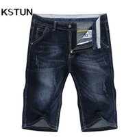 Kstun sommer shorts jeans männer jeans hose stretch dunkelblau mode design männer jeans schlank gerade männliche kurze jeans hombre