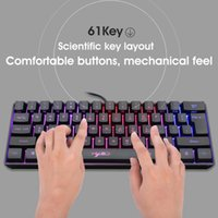 Oyun Mekanik Klavye RGB Aydınlatma 61-Anahtar Mini USB Kablolu V700 Klavyeler PC Laptop Masaüstü için
