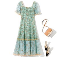 2021 Summer Fall Short Sleeve Square Neck Pink   Green Floral Print Tulle Embroidery Beaded Lace Mid-Calf Dress Elegant Casual Dresses 21G136271