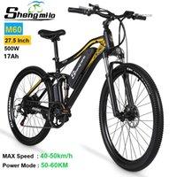 ShengMilo M60 27.5 inç Yetişkin Elektrik 500 W Dağ Bisikleti 48 V 17AH Lityum Pil Bisikleti 40 KM / H E-Bike