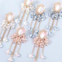 Dangle & Chandelier Fashion Alloy Resin Butterfly Long Tassel Drop Earrings Luxury Vintage Pink Flower Crystal Earring For Women Jewelry Gif