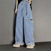 Women's Jeans Summer Men And High Waist Loose Straight Hole Belt Hip Hop Retro Wide Leg Trousers Boyfriend For J4WD