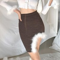Skirts Skirt For Girls 2021 Fashion Chic Sweet Sexy Solid Color Irregular Split Package Hip Wrap Short Woman Elegant