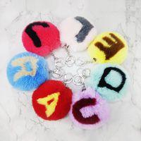 Fur Ball Fluffy Pom Pom Keychains Toys Soft Faux Rabbit Fur Ball Car Keyring Alphabet Initial Letter Key Chains Gift For Kids