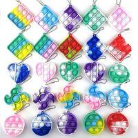 Le design le plus récent! Fidget Sensory Toy Mini Bubble Bubble Fidget Party Simple Dimple Clé Chaîne Bague Anti-Stress Board Autisme Toys éducatifs DHL