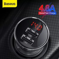 Baseus Car Charger 4.8A 24W Dual USB Fast Charger for Auto All Metal LED Car Charging Adapter For iPhone 11 X Samsung Xiaomi