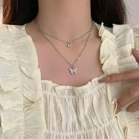 Pendant Necklaces Double Butterfly Necklace Girl Temperament Full Of Diamond Simple Clavicle Chain Adjustable For Women