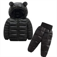 Winter Warm Childrens Clothing Sets Baby Girl Down Cotton Coats Snowsuit Kids Ski Suit Set Boys Hooded Jackets Pants1 5y