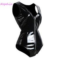 Trajes de catsuit mujeres sexy shinny shinny faux cuero cuerpo negro gótico cremallera en v cuello húmedo gatsuit erótico clubwear fetish emmsuit plus siz