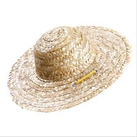 Dog Apparel 1pcs Pet Sun Hat Handcrafted Straw Woven Adjustable Pets Puppy Caps Classic Solid Farmer Accessories
