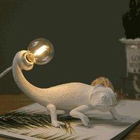 Masa Lambaları Nordic Kertenkele Lambası Modern Sevimli LED Reçine Hayvan Bukalemun Gece Lambası Yatak Odası Oturma Odası Ev Dekor Armatürleri