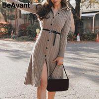 Casual Dresses BeAvant Stand Collar Women Knitted Dress Autumn Winter Long Sleeve Button High Street Style Female Sweater