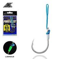 Pal-L asistencia Cuchara de agua salada 1/0-11 / 0 4x Círculo Ganchos de pesca Glow Wrap PE Línea azul de alta calidad Cebo de mar Fishhook