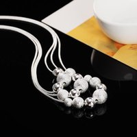 Chains High Quality 925 Sterling Silver Frosted Round Beads Snake Chain Necklace For Woman Classic Party Jewelry Fashion Christmas Gift