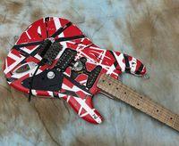 무거운 유물 Eddie Edward 밴 할인 프랑켄슈타인 일렉트릭 기타 블랙 화이트 스트라이프 레드 크라 머 5150 기타, 큰 headstock, 알더 바디, 메이플 목, 플로이드 장미 트레몰로
