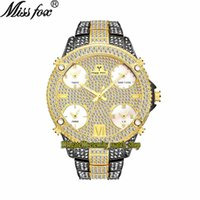 MissFox Eternidade V305 Hip Hop Moda Mens Mens Relógios 51mm CZ Diamond Inlay Multi Dial Movimento de Quartz Homens Assista Gelado de Diamantes Liga de Bezel Case Pulseira de Ouro Preto