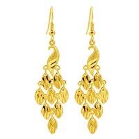 Damen Peacock Tail 24k Gold Überzogene Charm Ohrringe NjGE023 Mode Hochzeitsgeschenk Frauen Gelbgold Platte Schmuck Ohrring