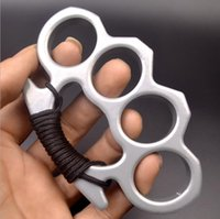 Metal Silver Black Knuckle Duster Four Finger Self Defense Weapon Equipment Clasp Safety Men's and Women's Bracelet Fitness Edc Pocket Tool