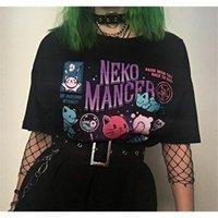 Hahayule yf neko mancer t-shirt unisex bonito grunge estética grunge preto tee satempo vestuário gótico bruxa camisa 210317