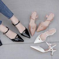 Dress Shoes Women Pumps Summer Fashion Pointed Sandals Patent-Paneled Stiletto Beige Black Party Wedding Ladies 2021