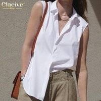 Women's Blouses & Shirts Clacive Casual Sleeveless White Ladies Summer Fashion Lapel Solid Shirt Elegant Single-Breasted Office Top Woman