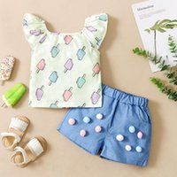 Clothing Sets Toddler Kids Baby Girls Summer Ruffle Food T Shirt Tops Denim Shorts Outfits Set Clothes Vetement Enfant Fille