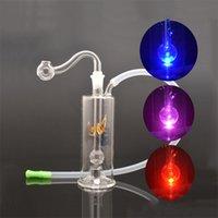 LED Nargile Renk CHNGE Işık Su Oilik Teçhizat Bongs Dab Petrol Rig Percolater Fıskiye Su Boruları Taşınabilir Shisha Yağ Nargile