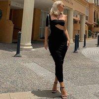 Bodycon Dresses Skinny Sexy Cut-Out Backless Long Midi Dress Women Club Party Gown Sleeveless Black Cryptographic Elegant Halter