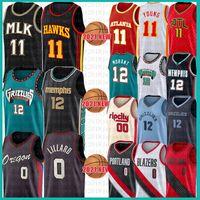 Portland Memphis Trail Grizzlies Blazers Men's Youth Kid's Ja 12 Morant Damian 0 Lillard Basketball Jersey Carmelo 00 Anthony 2021 NEW BLACK JERSEYS MESH RETRO