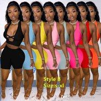 Sommer Frauen Trainingsanzüge Zwei Teile Sets Designer Outfits Sexy Rundhalsfarbe Kontrastspleißband Aushöhlen Ärmellose Weste Shorts