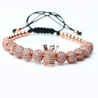 Männer Bibklik Slivery Crown Charm Armbänder Schmuck DIY 4mm Runde Perlen Geflochtene Armband Weibliche Pulseira Zirkon 102 R2