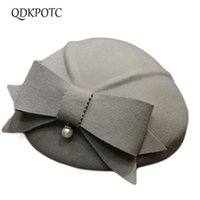Stingy Brim Hats QDKPOTC Female Wedding Banquet Party Fashion Headwear Lady Grace Bowknot Fedora Top Hat Women 100% Wool Felt Beret Caps