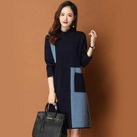 Kadın Kazak 2021 Kadınlar Sonbahar Kış Artı Boyutu Kontrast Renk Örme Vestidos Kadın Gevşek Uzun Kollu Kore Yün Kazak Elbiseler Z42