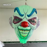 Personalized Lighting Inflatable Clown Head Balloon 2m/3m Air Blown Demon Mask Replica With RGB Light For Halloween Decoration